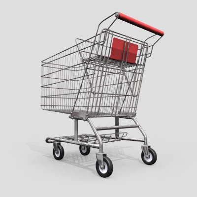 3D Model of Grocery Store Shopping Cart - 3D Render 0