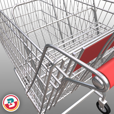 3D Model of Grocery Store Shopping Cart - 3D Render 1