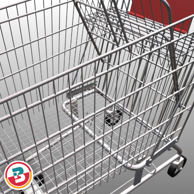 3D Model of Grocery Store Shopping Cart - 3D Render 2