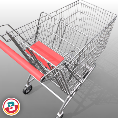3D Model of Grocery Store Shopping Cart - 3D Render 3