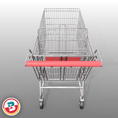 3D Model of Grocery Store Shopping Cart - 3D Render 4