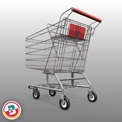 3D Model of Grocery Store Shopping Cart - 3D Render 5