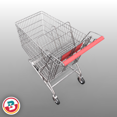 3D Model of Grocery Store Shopping Cart - 3D Render 6