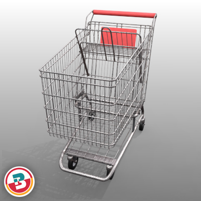 3D Model of Grocery Store Shopping Cart - 3D Render 8