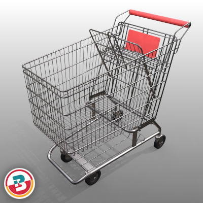 3D Model of Grocery Store Shopping Cart - 3D Render 9