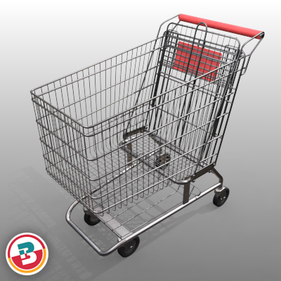 3D Model of Grocery Store Shopping Cart - 3D Render 10