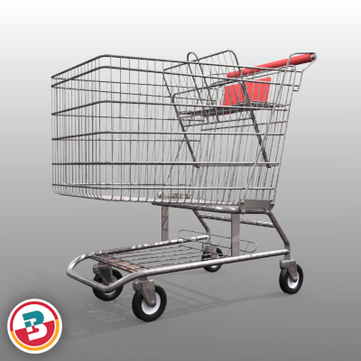 3D Model of Grocery Store Shopping Cart - 3D Render 11
