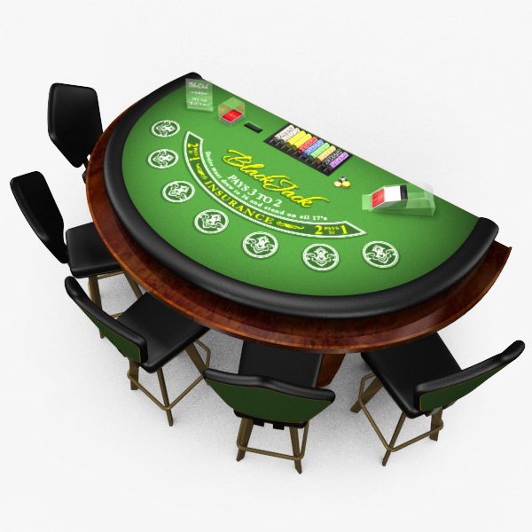 3D Model of Casino Collection :: Realistic Detailed BlackJack Table complete with chips, cards, etc. - 3D Render 0