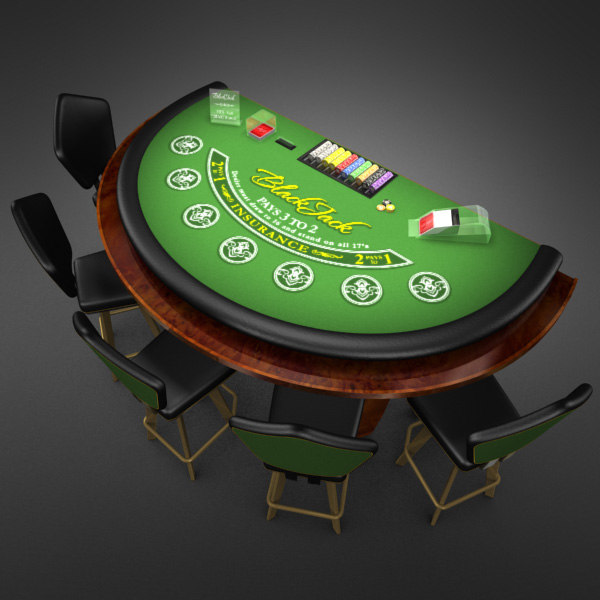 3D Model of Casino Collection :: Realistic Detailed BlackJack Table complete with chips, cards, etc. - 3D Render 1