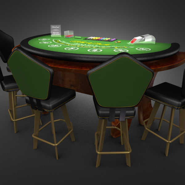3D Model of Casino Collection :: Realistic Detailed BlackJack Table complete with chips, cards, etc. - 3D Render 2