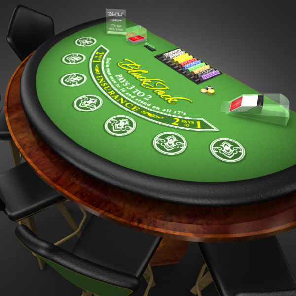 3D Model of Casino Collection :: Realistic Detailed BlackJack Table complete with chips, cards, etc. - 3D Render 3