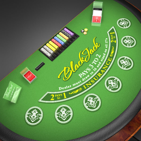 3D Model of Casino Collection :: Realistic Detailed BlackJack Table complete with chips, cards, etc. - 3D Render 4