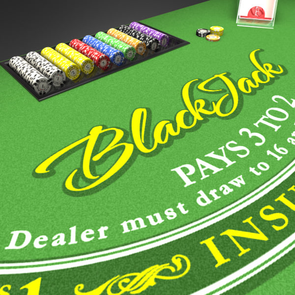 3D Model of Casino Collection :: Realistic Detailed BlackJack Table complete with chips, cards, etc. - 3D Render 6
