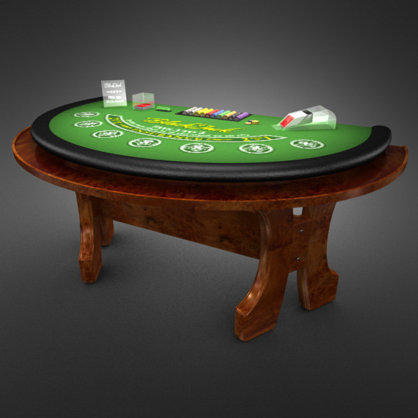 3D Model of Casino Collection :: Realistic Detailed BlackJack Table complete with chips, cards, etc. - 3D Render 9