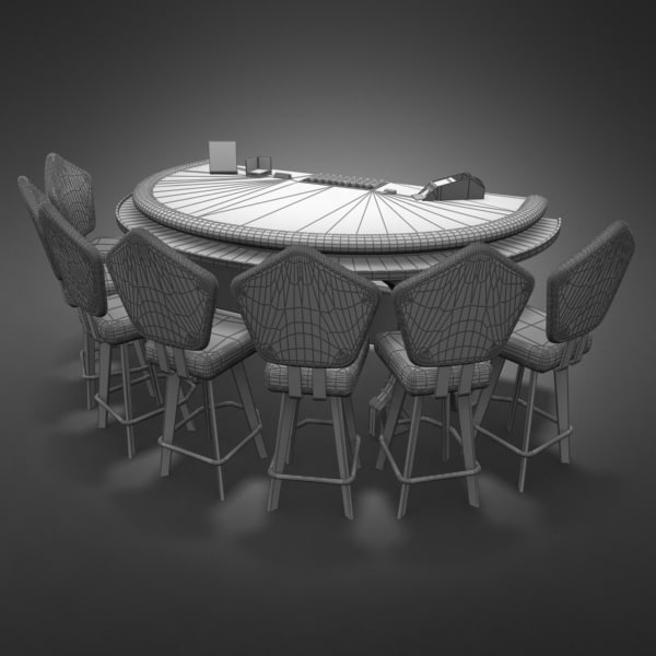 3D Model of Casino Collection :: Realistic Detailed BlackJack Table complete with chips, cards, etc. - 3D Render 11
