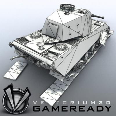 3D Model of Game Ready Low Poly King Tiger model - 3D Render 5