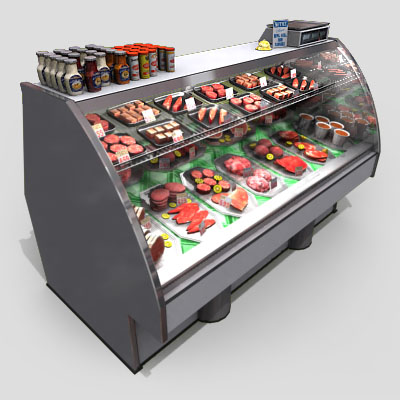 3D Model of Typical grocery store retail meat counter. - 3D Render 0