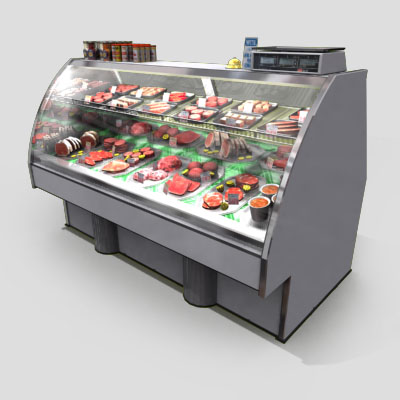 3D Model of Typical grocery store retail meat counter. - 3D Render 1