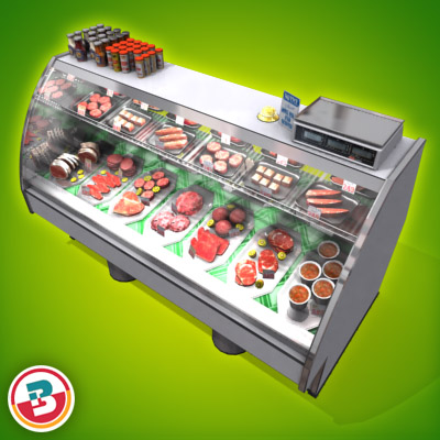 3D Model of Typical grocery store retail meat counter. - 3D Render 2