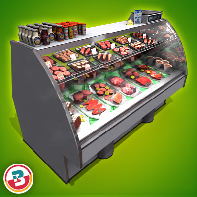 3D Model of Typical grocery store retail meat counter. - 3D Render 3