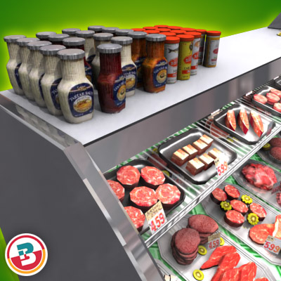 3D Model of Typical grocery store retail meat counter. - 3D Render 4