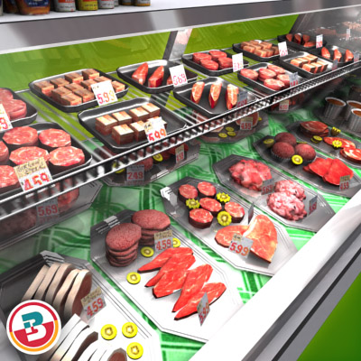 3D Model of Typical grocery store retail meat counter. - 3D Render 5