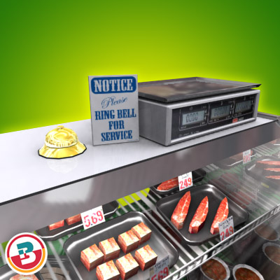 3D Model of Typical grocery store retail meat counter. - 3D Render 6