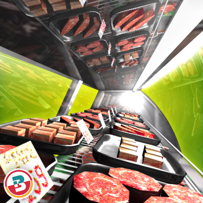 3D Model of Typical grocery store retail meat counter. - 3D Render 8