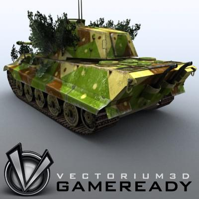 3D Model of Game Ready Low Poly King Tiger model - 3D Render 1