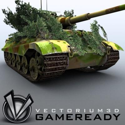 3D Model of Game Ready Low Poly King Tiger model - 3D Render 4