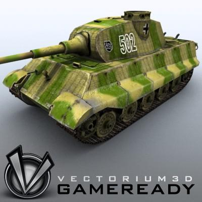 3D Model of Game Ready Low Poly King Tiger model - 3D Render 0