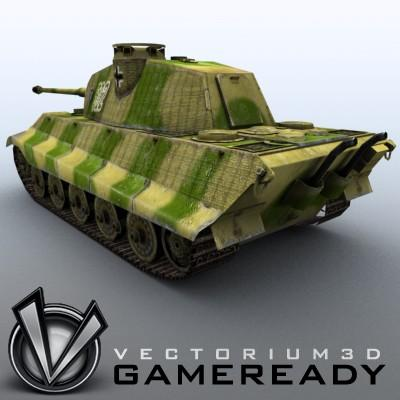 3D Model of Game Ready Low Poly King Tiger model - 3D Render 2