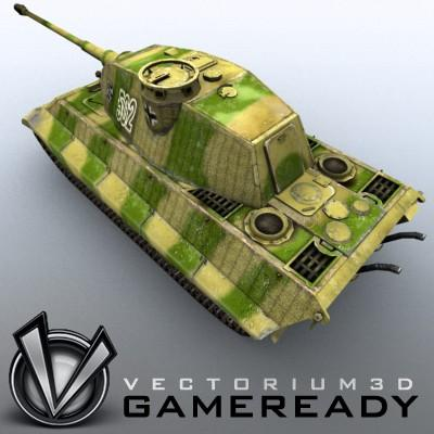 3D Model of Game Ready Low Poly King Tiger model - 3D Render 3