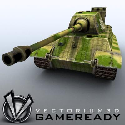 3D Model of Game Ready Low Poly King Tiger model - 3D Render 6