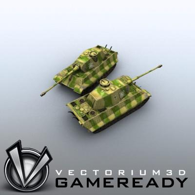 3D Model of Game Ready Low Poly King Tiger model - 3D Render 8