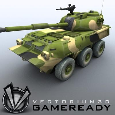 3D Model of Game-ready model of Chinese PTL02 100mm Wheeled Assault Gun - 3D Render 0