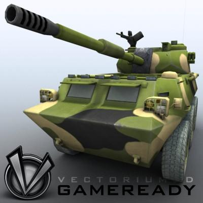 3D Model of Game-ready model of Chinese PTL02 100mm Wheeled Assault Gun - 3D Render 4