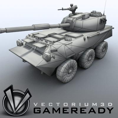 3D Model of Game-ready model of Chinese PTL02 100mm Wheeled Assault Gun - 3D Render 8