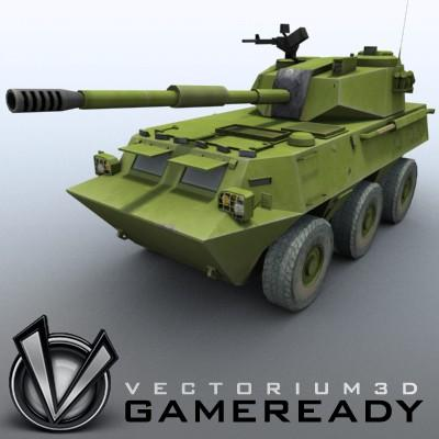 3D Model of Game-ready model of Chinese PTL02 100mm Wheeled Assault Gun - 3D Render 1