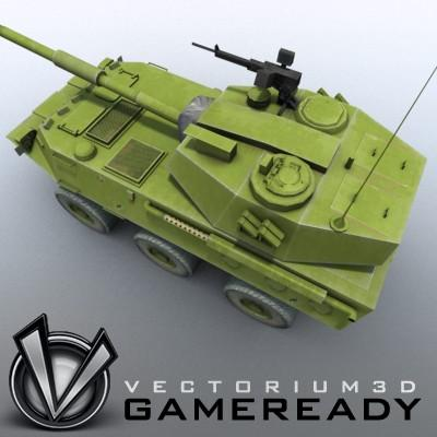 3D Model of Game-ready model of Chinese PTL02 100mm Wheeled Assault Gun - 3D Render 2