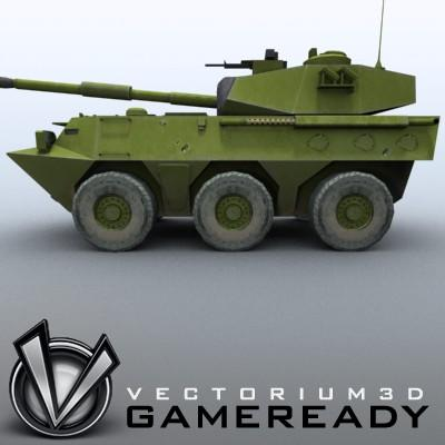 3D Model of Game-ready model of Chinese PTL02 100mm Wheeled Assault Gun - 3D Render 3