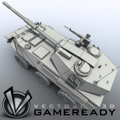 3D Model of Game-ready model of Chinese PTL02 100mm Wheeled Assault Gun - 3D Render 7