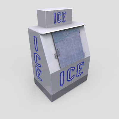 3D Model of A basic ice-box, as seen outside a gas-station near you! - 3D Render 1