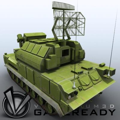 3D Model of Game-ready model of modern Russian/Chinese SAM TOR-M1 (SA-15 Gauntlet) with two RGB textures (2048x2048 and 1024x512) and one RGBA (512x512) texture for radar. - 3D Render 1