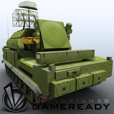3D Model of Game-ready model of modern Russian/Chinese SAM TOR-M1 (SA-15 Gauntlet) with two RGB textures (2048x2048 and 1024x512) and one RGBA (512x512) texture for radar. - 3D Render 3