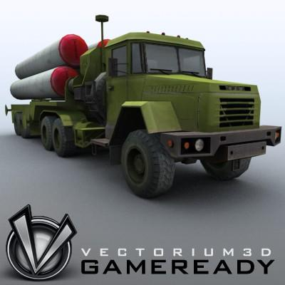 3D Model of Game-ready model of modern Russian/Chinese SAM S-300PMU (SA-10 Grumble). - 3D Render 0