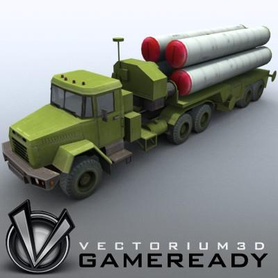 3D Model of Game-ready model of modern Russian/Chinese SAM S-300PMU (SA-10 Grumble). - 3D Render 1