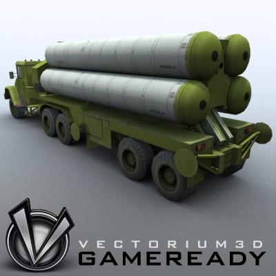 3D Model of Game-ready model of modern Russian/Chinese SAM S-300PMU (SA-10 Grumble). - 3D Render 2