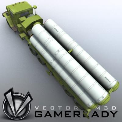 3D Model of Game-ready model of modern Russian/Chinese SAM S-300PMU (SA-10 Grumble). - 3D Render 3