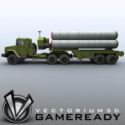 3D Model of Game-ready model of modern Russian/Chinese SAM S-300PMU (SA-10 Grumble). - 3D Render 4